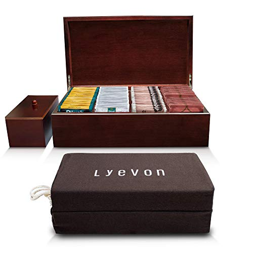 Lyevon Tea Storage Chest Box - 8 Adjustable Compartments - solid Bamboo - holds 125 Tea Bags - Loose Tea Canister Included