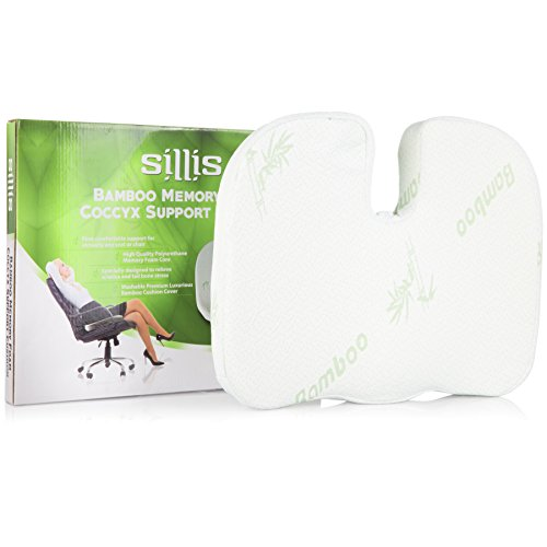Memory-Foam-Seat-Support-Cushions-Office-Desk-Chair-Wheelchair-Car-or-Truck-Driver-Seat-Lumbar-Butt-Pillow-Bamboo-Sitting-Cushion-to-Relieve-Coccyx-Sciatica-Tailbone-or-Back-Muscle-Pain