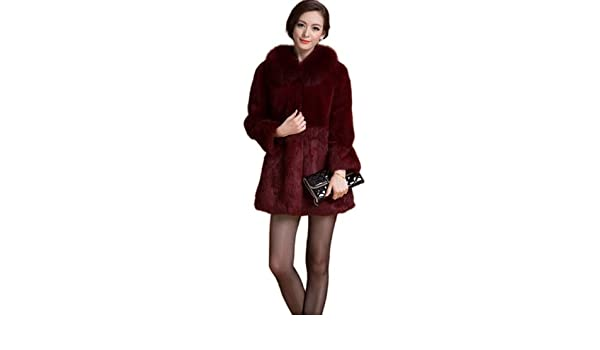 Queenshiny mujer 100% Real Rex Abrigo de piel de conejo chaqueta con Fox cuello Rojo rojo vino X-Small: Amazon.es: Ropa y accesorios