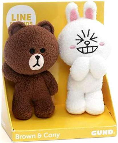 GUND Line Friends Plush Stuffed Animal, Brown & Cony Set of 2, 4