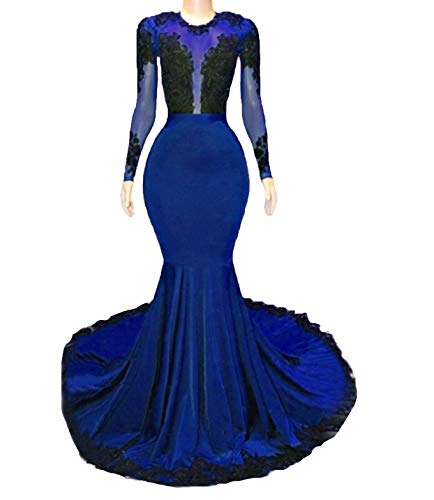 Graceprom Women's Long Sleeves Mermaid Evening Dresses Court Train Lace Appliques Prom Party Gowns 20 Royal - Sleeve Long Train Court