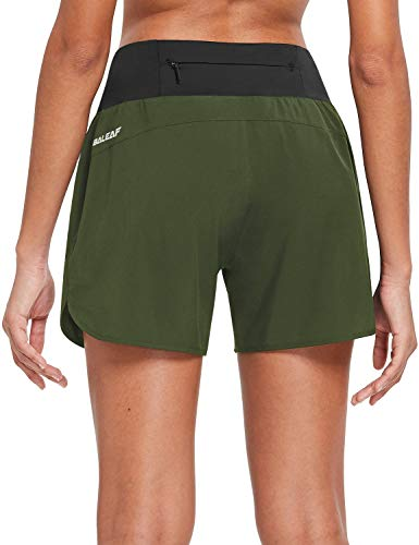 BALEAF Womens 5 Inches Knit Waistband Running Shorts with Liner Quick Dry Lounge Gym Walking Lined Shorts Back Zipper Pocket