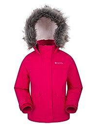 Mountain Warehouse Samuel Kids Parka Jacket - Water Resistant Raincoat Bright Pink 11-12 years