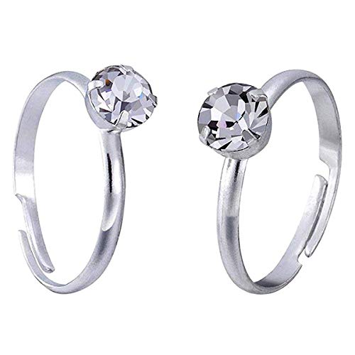 Topoox 60 Pack Silver Diamond Rings for Bridal Shower Games Engagement Party Favor Table Decorations]()