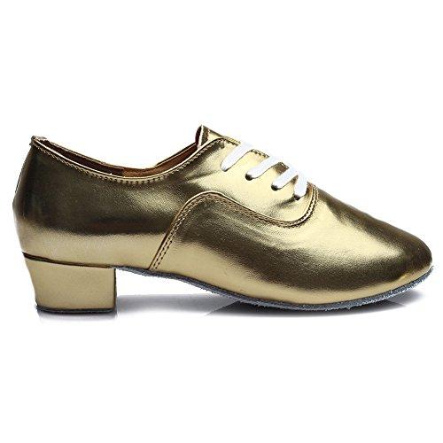 Ballroom Waltz Professional Jazz Tango Gold Shoes Leather Men's Shoes Performance 2 Latin Roymall Dance xHFZ64Y