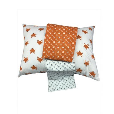 Bacati Playful Foxs 3 Piece Toddler Sheet Set, Orange/Grey by Bacati