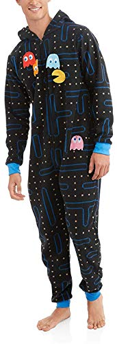 Pacman Gamer Adult Novelty Hooded Onesie Pajama with Detachable Pieces, Size Large/X-Large ()