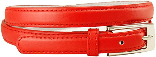 "Women's Skinny Narrow Solid Color Ladies Fashion Dress Belt (S(30""-34""), Red)"
