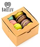 BakeLuv Brown Bakery Boxes with Window 4x4x2.5