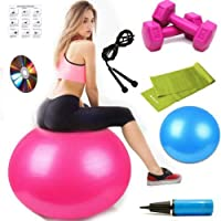 Delukse Pilates Seti Plates Topu Lastiği 1 Kg Dambıl Atlama İpi Jimnastik Bandı 20 Cm Mini Top 8Di