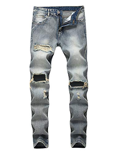 Enrica Men's Ripped Distressed Destroyed Straight Fit Washed Denim Jeans, Vintage Blue 2, 30