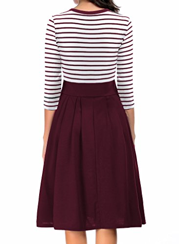 Modest Stripe Neck Dresses Swing Sleeve Scoop Short 4 red Long 3 Women's AAMILIFE 3 Casual Pqx75nWaxv