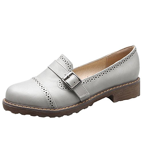 Carolbar Women's Concise Buckle Mid Heel Hollow Pattern Court Shoes Grey kY3TCmx