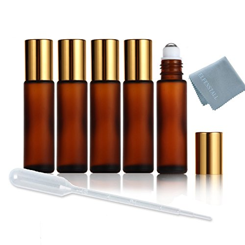 elfenstall-5pcs-refillable-thick-frosted-amber-10ml-1-3oz-empty-roll-on-glass-bottle-for-fragrance-e
