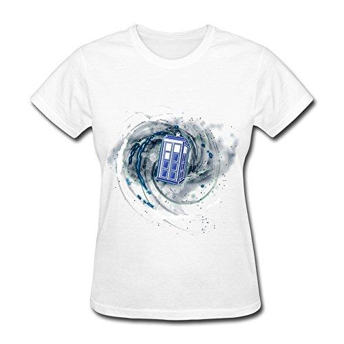 WSB Women's T-shirt Fashion Tardis Space Time Universe Customlized T-shirt White Size XXL