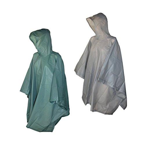 (Totes 2 Pack Waterproof Rain Ponchos (Smoke & Green, One Size))