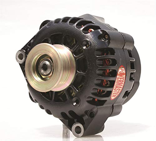 Powermaster Performance 58242 Black Alternator (CS130D 165A 6 Groove Pulley 5:00 with Air Duct Cover 1 Wire or OE - Up Alternator One Hook Wire