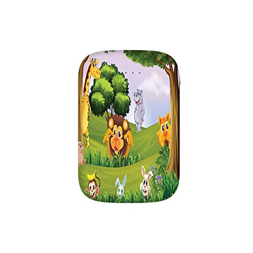 Animals in The Forest Cartoon Illustration African Safari Jungle Ecosystem Greenery Portable Charger 10000mAh Power Bank External Battery Backup Pack Fast Charger for iPhone,Samsung Galaxy and More