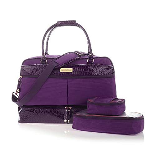 Samantha Brown Drop Bottom Satchel with 2 Zippered Cubes - Purple