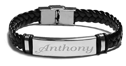 Zacria Name Bracelet Anthony - Personalised Mens Leather Braided Engraved Bracelet. Including Gift Box and Gift Bag. 2mm Thick - Bracelet Personalised Name
