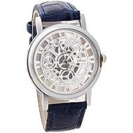 Mens Watches - Luxury Stainless Steel Quartz Sport Leather Strap Dial Wrist Watch by Sameno Watch Liberté Relojes