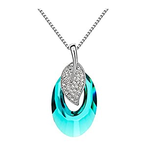 Gorgeous Jewelry Swarovski Austrian Crystal the Left Digit Fall Pendant Necklace Blue (Never Let You Alone)