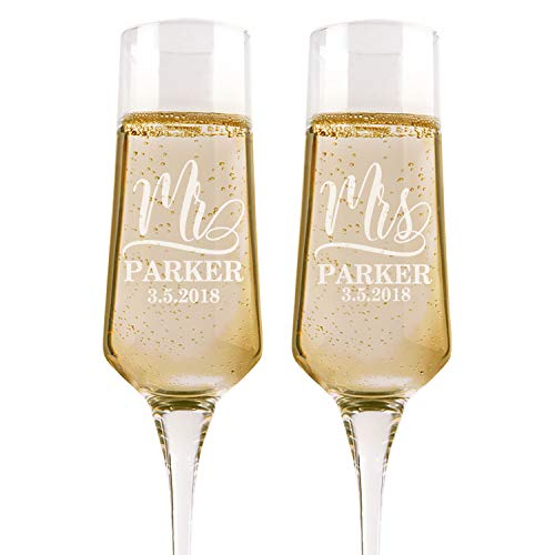 Set of 2, Personalized Wedding Glasses For Bride and Groom, Personalized Wedding Champagne Flutes, Etched Wedding Toasting Glasses - Heart to Heart Glasses - Customized Wedding Gift #1