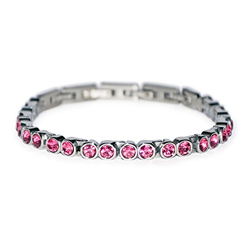 Tennis Golf Crystal Magnetic Bracelet with Pink Silk Rose Swarovski Element Energetix 4you 465 comparable MAGNETIX 463 XS to XXL