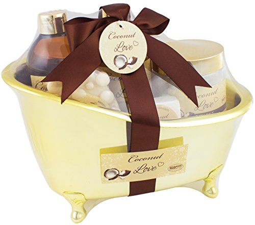 Gift Set Shower Gel (BRUBAKER Beauty Gift Set 'Coconut Love' with Golden Bathtub, Bath Fizzer, Bubble Bath, Shower Gel, Bath Salt, Soap)