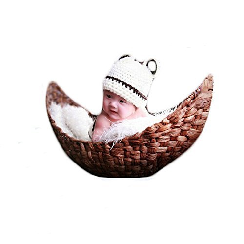 Creative Newborn Baby Photography Prop Handmade Woven Moon Basket