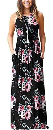 PCEAIIH Women's Sleeveless Long Floor Length Maxi Slim Beach Dresses Floral Print Black L
