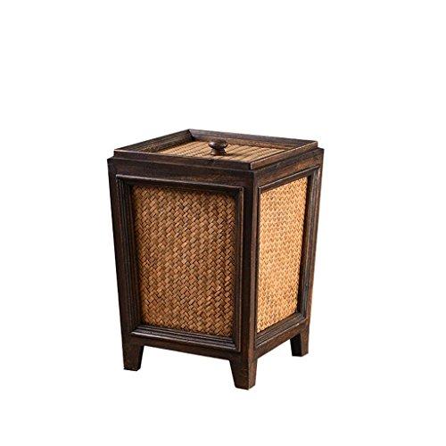 Vintage Rattan (Vintage Rattan Basket Trash Can Home Creative Wood Waste Bin Living Room Bedroom Dining Room Handmade Bamboo Storage Box Flower Tube with Lid)