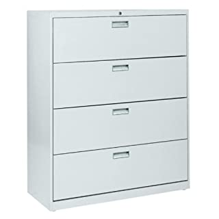 "Sandusky Lee LF8F424-07 800 Series 4 Drawer Lateral File Cabinet, 19.25"" Depth x 53.25"" Height x 42"" Width, Putty"