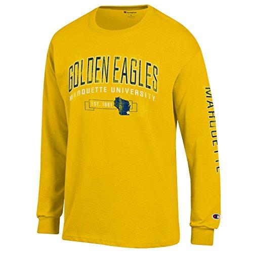 NCAA Marquette Golden Eagles Men's Champion Men's Fair Catch Long sleeve T-Shirt, X-Large, Yellow
