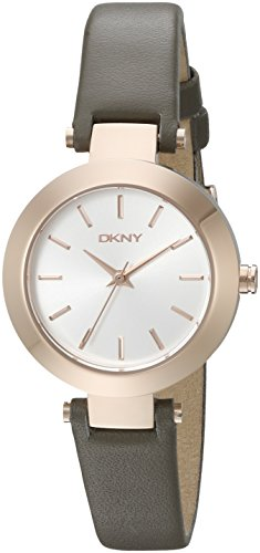 DKNY Women's 'STANHOPE' Quartz Stainless Steel and Grey Leather Casual Watch (Model: NY2408)