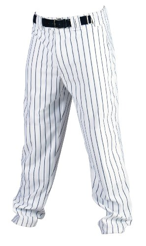Rawlings Youth Relaxed Fit YBP95MR Pinstriped Baseball Pant, White with Navy Pinstripes, Youth Large