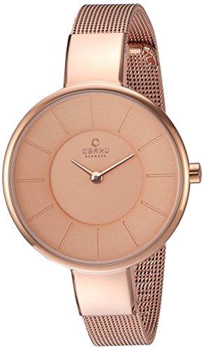 Obaku Women's Quartz Stainless Steel Dress Watch, Color:Rose Gold-Toned (Model: V149LXVVMV)