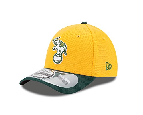 MLB Oakland Athletics 2Tone Diamond Era 39Thirty Flex Fit Cap, Yellow, Small/Medium