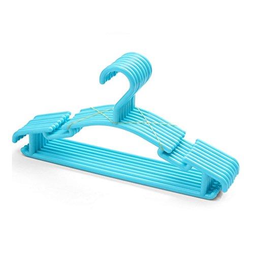 (MIAOQUTONG 10Pcs/Lot Clip Stand Clothes Hanger Plastic Metal Hangers Hooks Purple)
