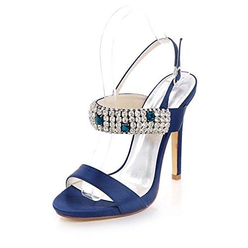 Zapatos básica Boda ZHZNVX plateado oscuro para de Silver noche de Stiletto satén strass Talón bomba abierto sandalias de de mujer Primavera Verano hebilla talón drnw0r