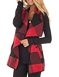 Women's Color Block Lapel Open Front Sleeveless Plaid...