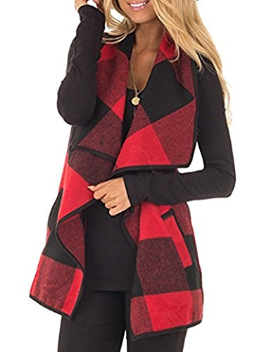 Rvshilfy Women's Color Block Lapel Open Front Sleeveless Plaid Vest Cardigan with Pockets (X-Large, Red) (Buffalo Plaid Vest Women)