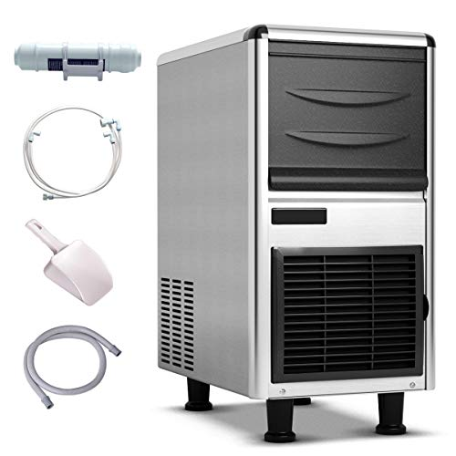 Costzon Commercial Ice Maker, Ice Machine with Adjustable Ice Thickness, 110lbs Ice In 24h, 33lbs Storage Capacity, Stainless Steel Air-Cooled Freestanding Under Counter Ice Machine with Ice Shovel