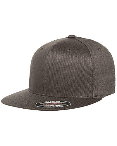 - Flexfit 6297F Adult Wooly Twill Pro Baseball On-Field Shape Cap with Flat Bill Dark Grey L/XL