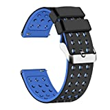 Lwsengme Silicone Quick Release - Choose Color & Width (18mm, 20mm,22mm) - Soft Rubber Watch Bands (Black/Blue, 22mm)