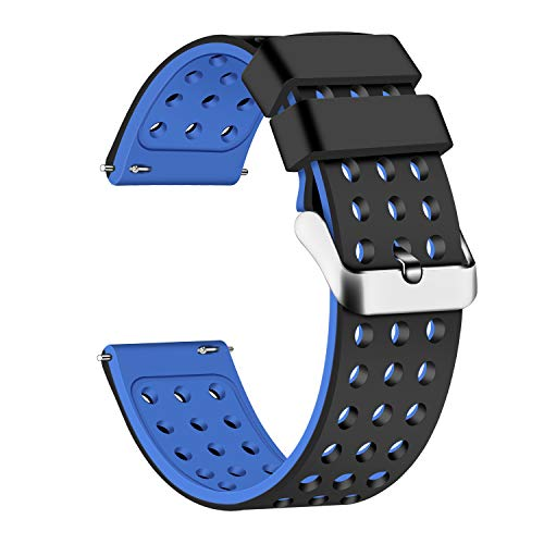 Lwsengme Silicone Quick Release - Choose Color & Width (18mm, 20mm,22mm) - Soft Rubber Watch Bands (Black/Blue, 18mm)