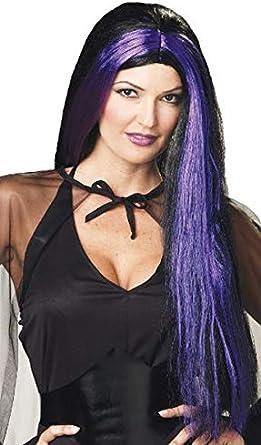 Long Black Witch Wig with Purple Streaks Halloween Fancy Dress Accessory