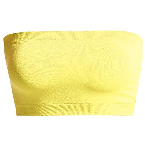 TheMogan Junior's Seamless Bandeau Bra Top Stretch Tube Bralette Yellow ONE Size