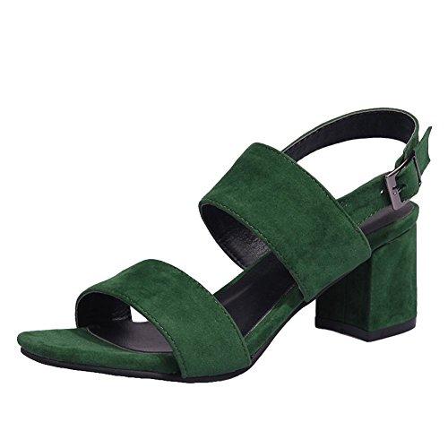 el con tacón tirantes Charm sólido verde talón de de Carolbar color de en Sandalias Block alto cOvgqAHwxU