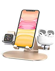 3 in 1 Aluminum Charging Station for Apple Watch Charger Stand Dock for iWatch Series SE/6/5/4/3/2/1, iPad, AirPods Pro/2/1 and iPhone 12/11/Xs/X Max/XR/X/8/ 8P/7/7P/6S/6S